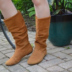 Light Brown Flat Foot Slouchy Country Style Boots